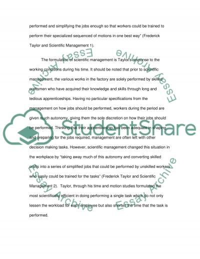 Frederick Taylors Scientific Management essay example