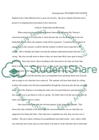 Teaching situations essay example