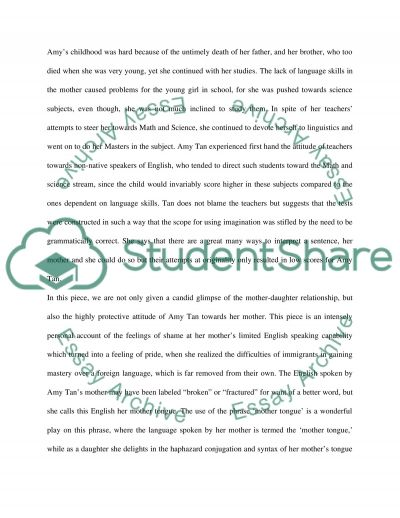 mother tongue analysis essay