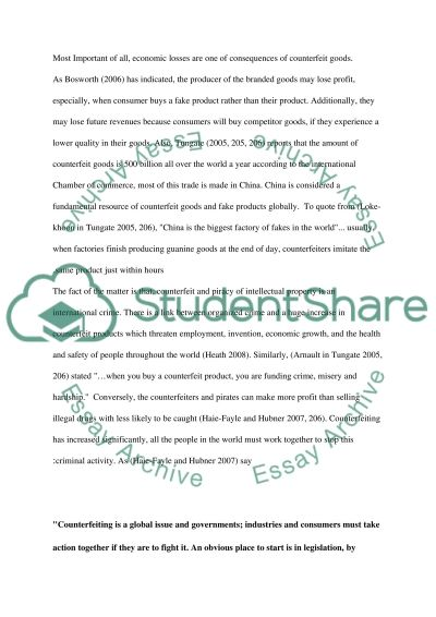 Counterfeit good and piracy essay example