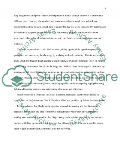 Personal Development Planning (PDP) Assignmant essay example