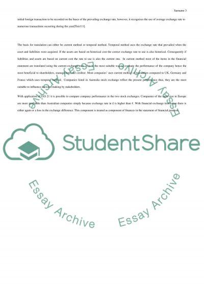 International Accounting essay example