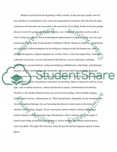 Heritage and Cultural Tourism Management Essay example