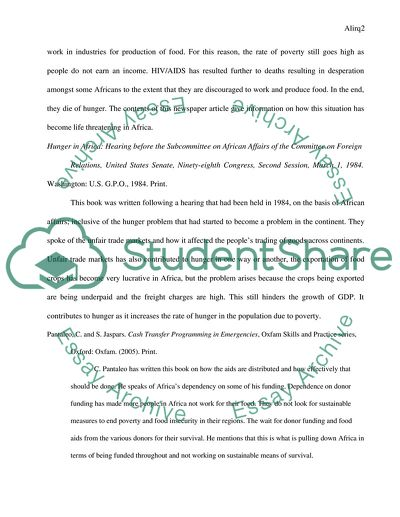 Annotated Bibliography for Africas Hunger