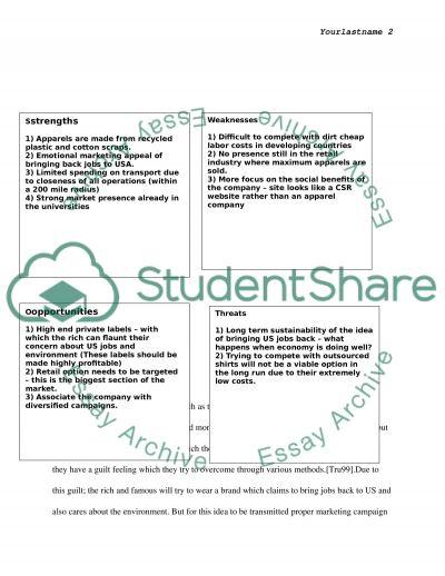 Marketing: Analysis of SustainU essay example