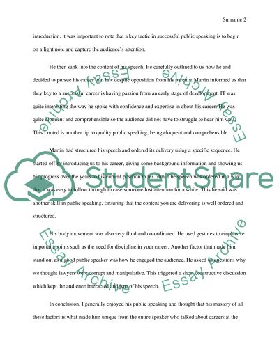 Public speaking class Essay Example | Topics and Well