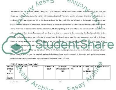 Nursing Case Management Plan essay example