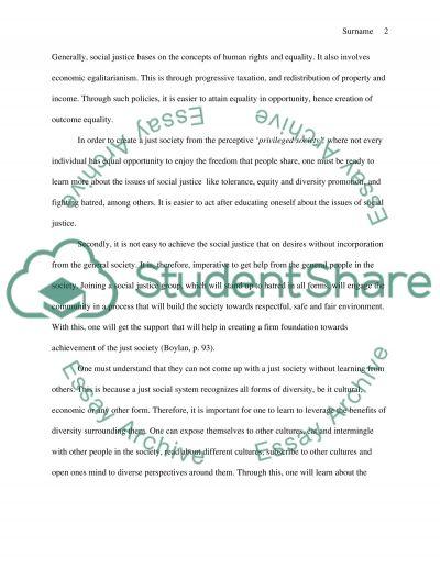 Philosophy - Social Justice essay example