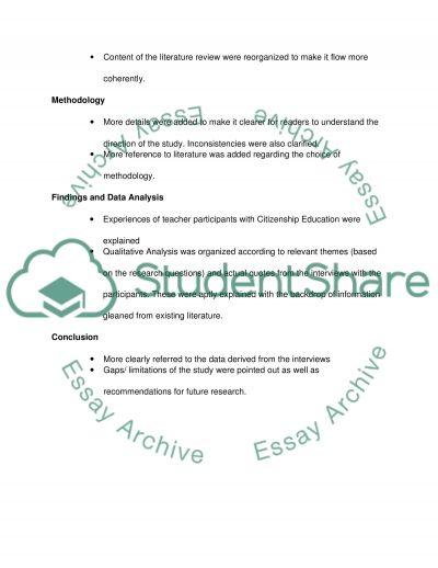 Outline of dissertation changes