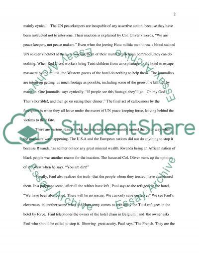 Hotel Rwanda essay example