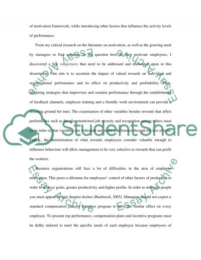 Reward and Performance Essay example