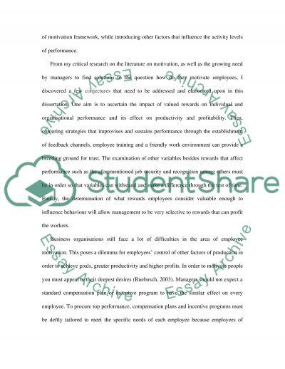 Reward and Performance essay example