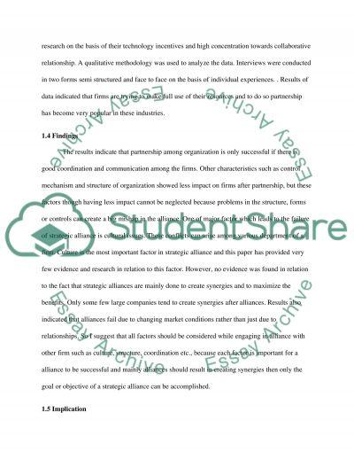 Alliances as Strategic Tools essay example