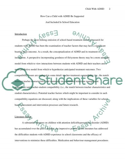 How Can a Child with ADHD Be Supported And Included In School Education essay example