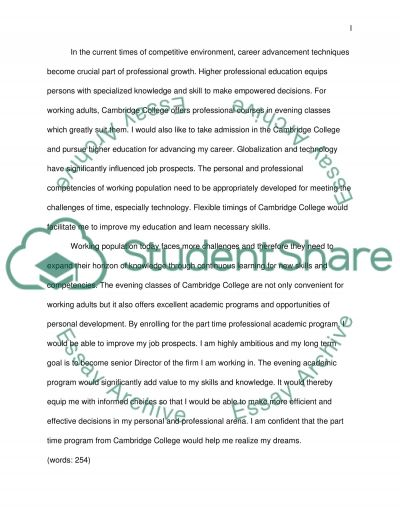why cambrige college                                                                                                                      lladd Essay example
