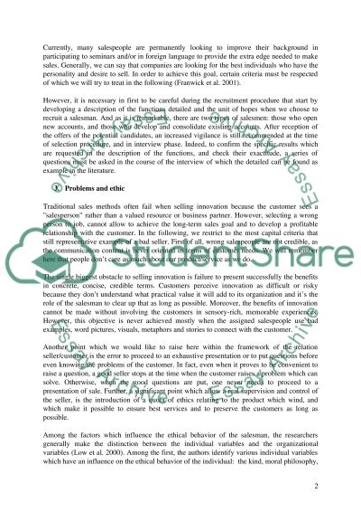 What is a good salesman essay example