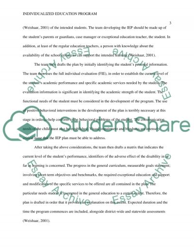 Workbook Summary for Individualized Education Programs essay example