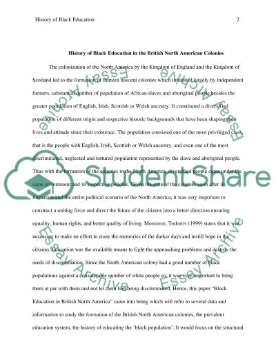 History of black education in the british north american colonies essay example