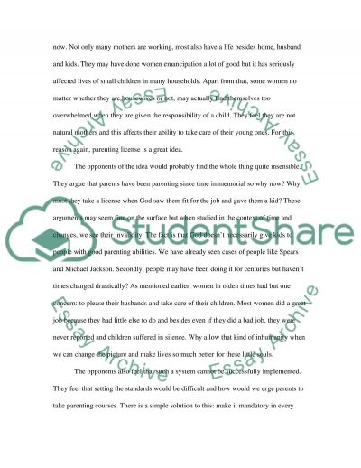 Parenting licence essay example