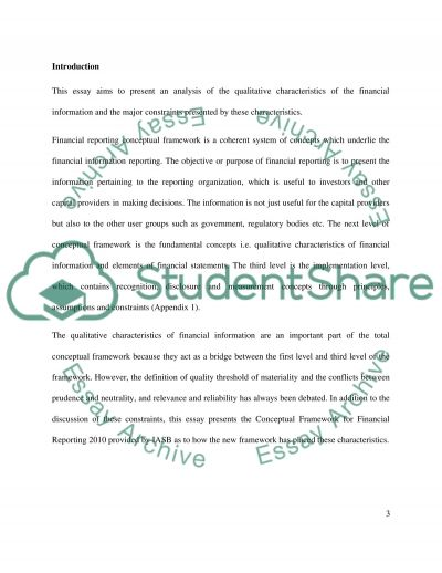 Qualitative Characteristics of Financial Information essay example
