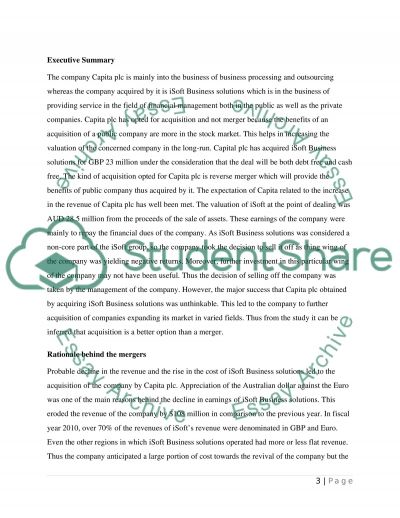 Financial strategy Course -case on Mergers & Acquisitions- essay example