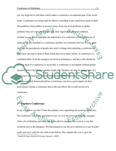 Conference and Exhibition essay example