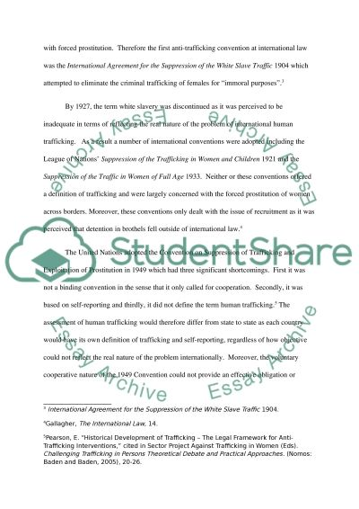 Continuous Assessment on International Human Trafficking Law essay example