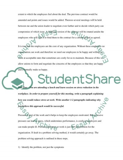 Labor and Employee Relations essay example