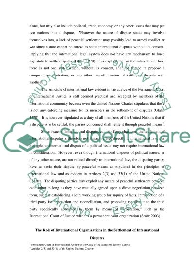 Dispute Settlement between States essay example