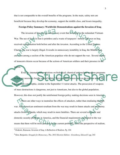 Domestic & Foreign Policies Writing Assignment
