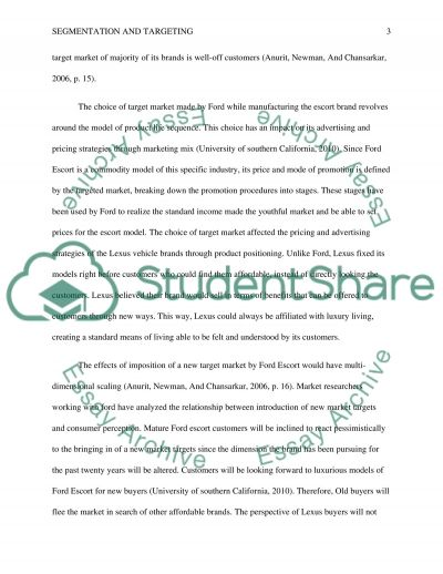 Segmentation and Targeting essay example