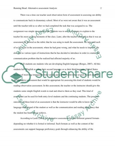 Alternative Assessment Analysis essay example