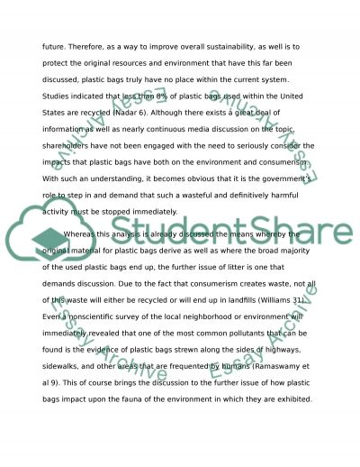 Plastic bags should be banned essay