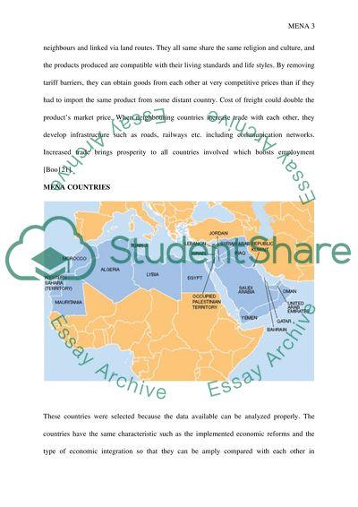 Regional Economic Integration: MENA