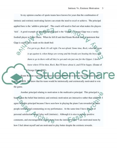 Intrinsic vs. Extrinsic Motivation (Opinion Paper) essay example