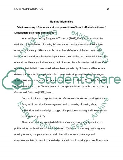 Nursing Informatics essay example