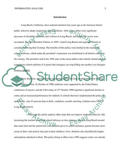 Informative analysis of school uniforms