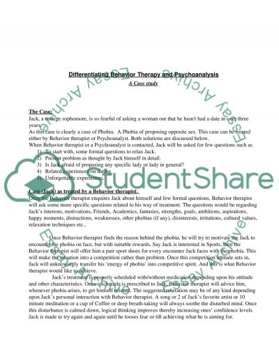 Basic difference between Behavior therapy and Psychoanalysis essay example