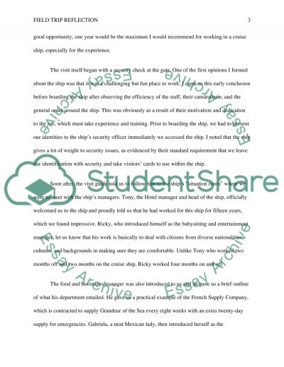 Re-write Field Trip Reflection essay example