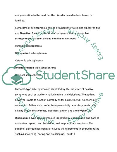 Symptoms of schizophrenia five areas of disturbance essay