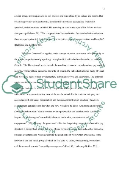 The Effects of rewards on employee motivation Essay example