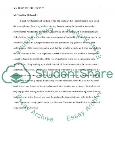My Teaching Philosophy essay example