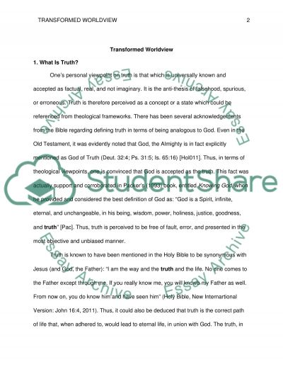 Transformed Worldviews Research Paper example