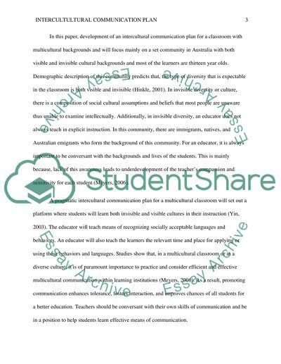 Intercultural Communication Plan for a Multicultural Classroom