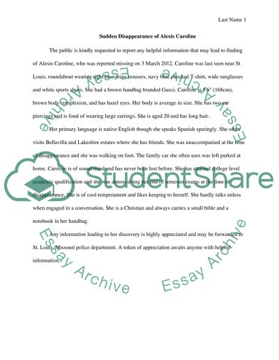 Missing person report Essay Example | Topics and Well Written Essays ...