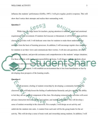 Welcome Activity. Classroom Atmosphere essay example