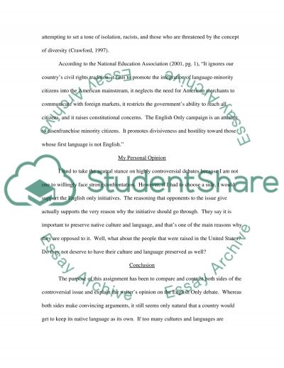 English Only Debate Paper essay example