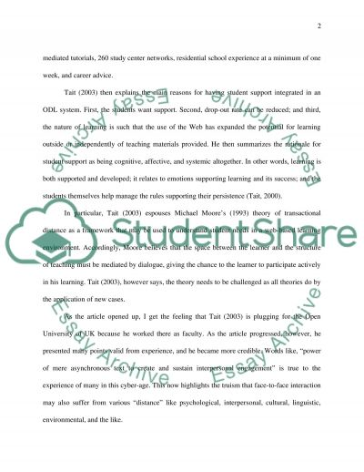 Student Support in Open and Distance Learning essay example