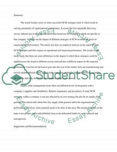 Supply Chain (summary and suggestions) essay example