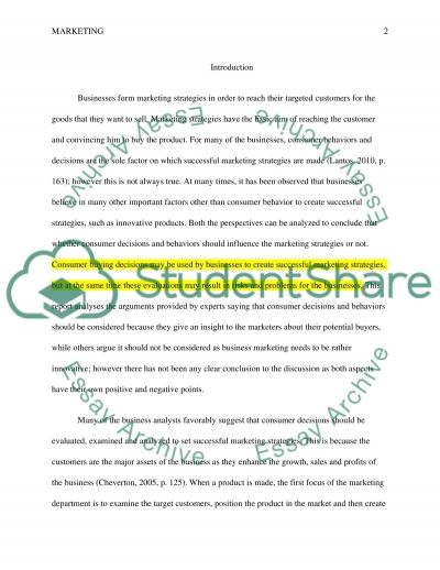 Marketing and choice essay example